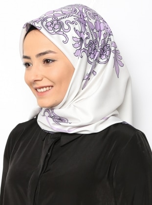 Bohemian Light Purple Twill Eşarp - Ekru Lila Duanil