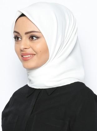 White - Plain - Twill - Polyester - Scarf - Gülsoy