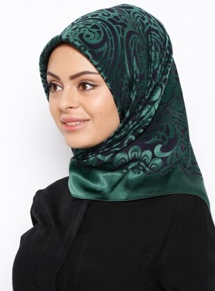 Green - Navy Blue - Printed - Polyester - Scarf - Gülsoy