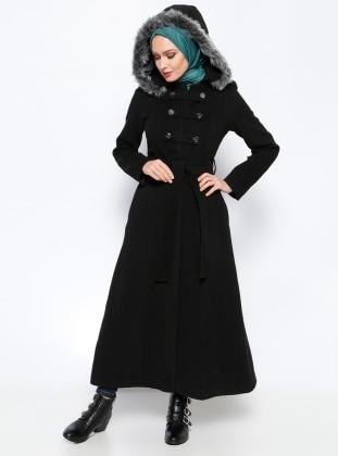 Black - Full Lined - Point Collar - Coat - BÜRÜN