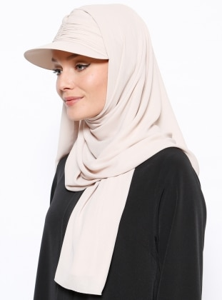 Mıknatıslı Boneli Şapka Şal - Bej - Tulipa Turban