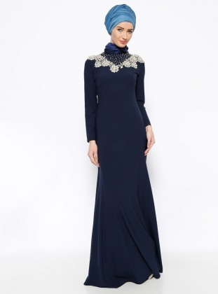 Navy Blue - Muslim Evening Dress - Mislina 261905