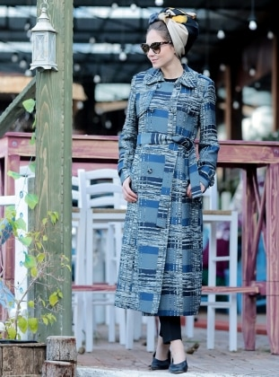 Blue - Full Lined - Point Collar - Trench Coat - Minel Aşk