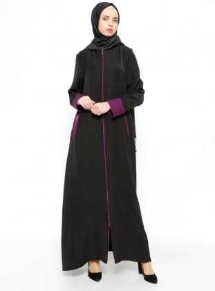 Black - Purple - Unlined - Abaya - ModaNaz 262632