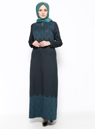 Green - Unlined - Crew neck - Abaya - Ginezza