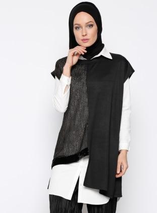 Garnili Kolsuz Bluz - Siyah - Meryem Acar