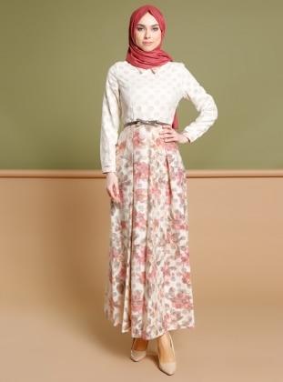 Çiçekli Elbise - Gül Kurusu Ekru