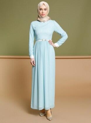 Çizgili Elbise - Mavi