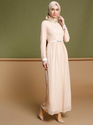 Çizgili Elbise - Pudra