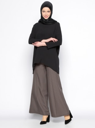 Desenli Geniş Paça Pantolon - Kahverengi Beha