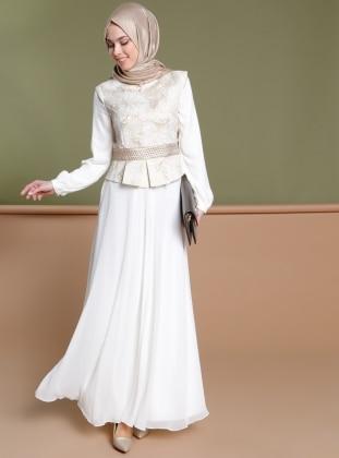 Jakarlı Abiye Elbise - Ekru