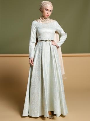 Puane Jakarlı Abiye Elbise - Mint