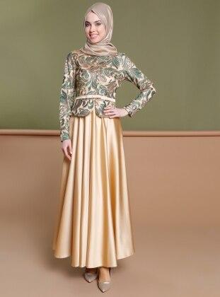 Payetli Abiye Elbise - Gold Yeşil