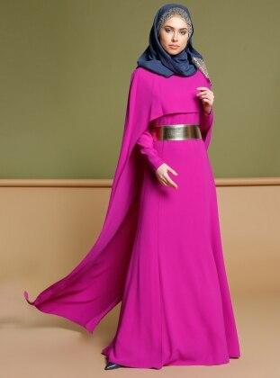 Pelerinli Elbise - Fuşya