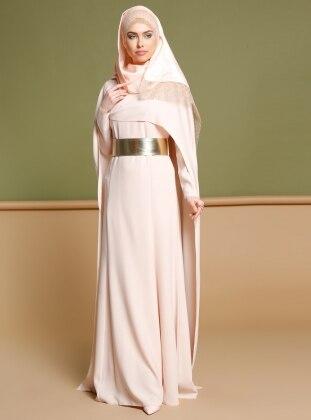 Pelerinli Elbise - Pudra