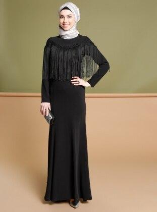 Püskül Detaylı Abiye Elbise - Siyah