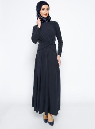 Navy Blue - Crew neck - Unlined - Dress - Mileny 266174