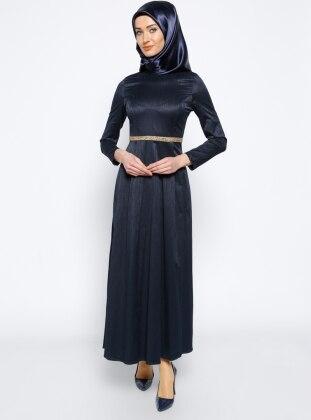 Navy Blue - Polo neck - Unlined - Dress - Mileny 266164