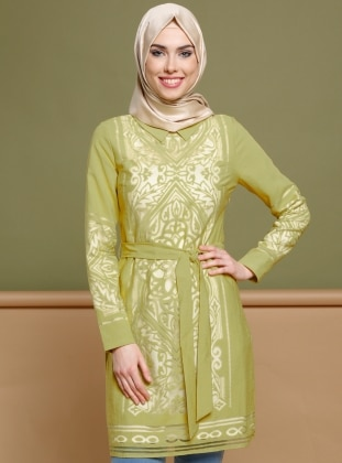 Green - Point Collar - Tunic - Puane 265861