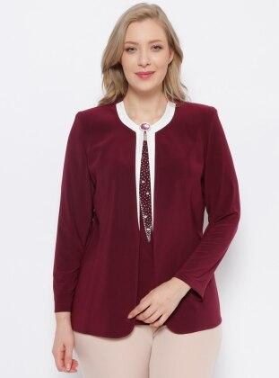 Ceket & Kolsuz Bluz İkili Takım - Mürdüm Arıkan