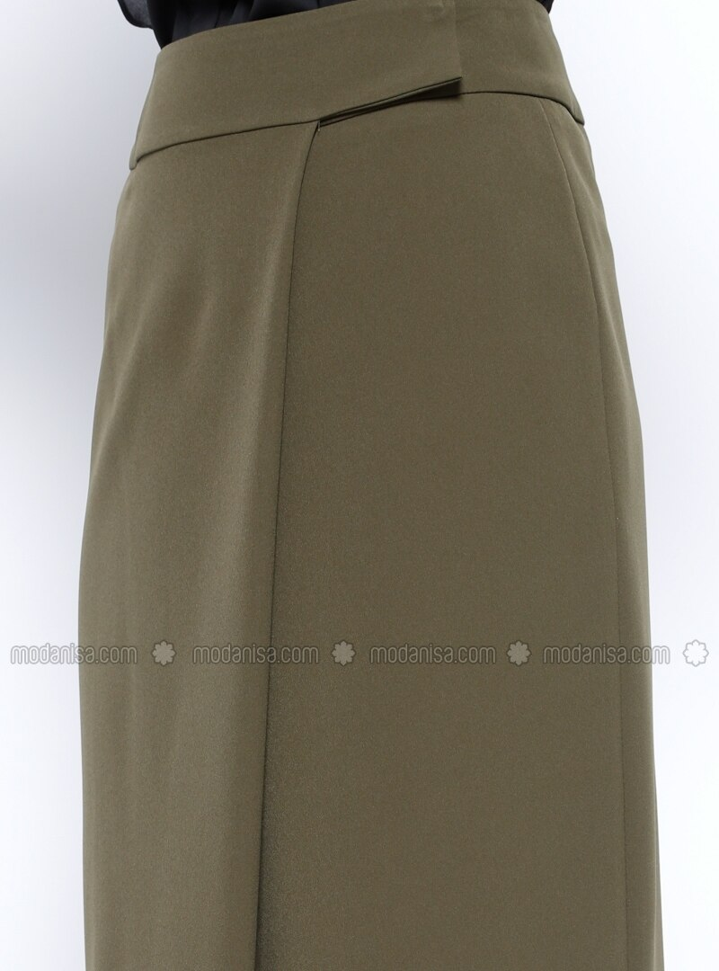 khaki fully lined skirt jaade by jaade modanisa