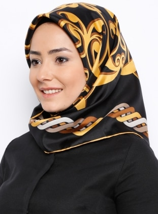 Twill İpek Eşarp - Siyah Sarı Silk Home