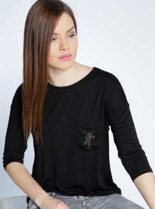 Cep Detaylı Bluz - Siyah adL