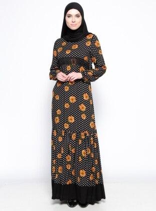 Dantel Detaylı Elbise - Hardal Siyah Ginezza