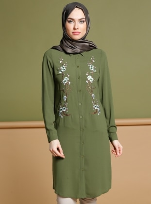 Green - Point Collar - Tunic - Puane 270219