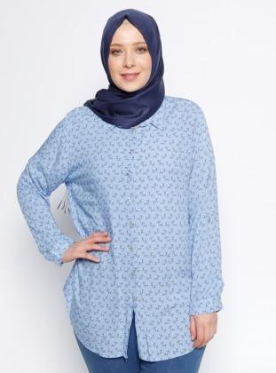 Çiçekli Gömlek - Mavi Ginezza