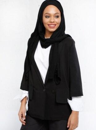 Şal Yaka Ceket - Siyah Refka
