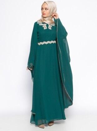 Güpür Detaylı Abiye Elbise - Yeşil BÜRÜN
