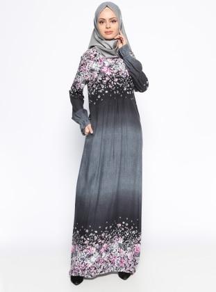 Çiçek Desenli Elbise - Siyah Ginezza