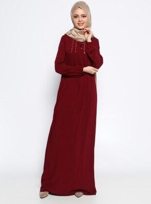 Drop Baskı Detaylı Elbise - Bordo Ginezza