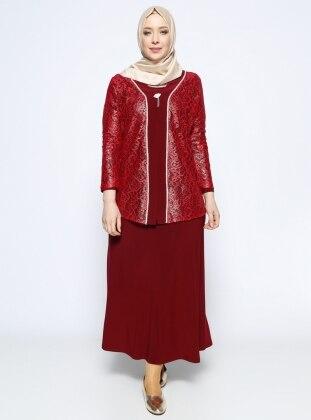 Ceket&Elbise İkili Abiye Takım - Bordo Metex