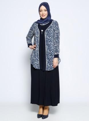 Ceket&Elbise İkili Abiye Takım - Lacivert Metex
