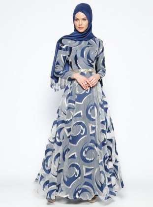 Navy Blue - Gold - Multi - Fully Lined - Crew neck - Muslim Evening Dress - Mileny 273167