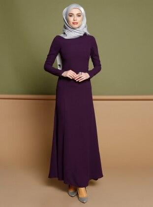 Düz Renkli Elbise - Mor
