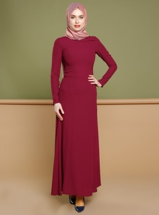 Düz Renkli Elbise - Mürdüm