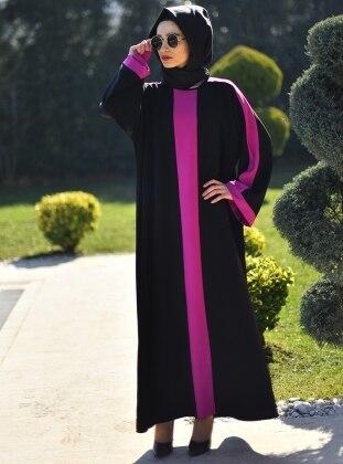 Ferace Elbise - Siyah Fuşya Gabra