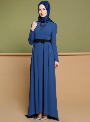 Kolyeli Elbise - İndigo