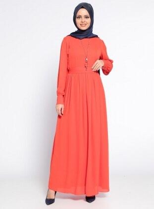 Eva Fashion Kolyeli Elbise - Mercan