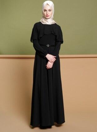 Puane Piliseli Elbise - Siyah