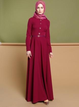 Taş Detaylı Elbise - Fuşya