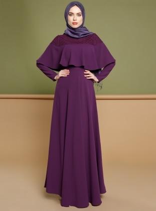 Volan Detaylı Elbise - Mor