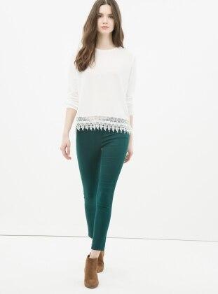 Dar Paça Pantolon - Yeşil Koton