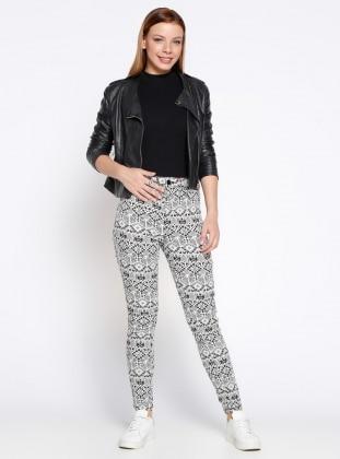 Desenli Pantolon - Siyah Beyaz Koton