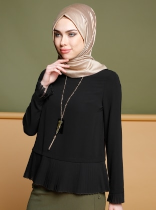 Pilise Detaylı Bluz - Siyah Puane