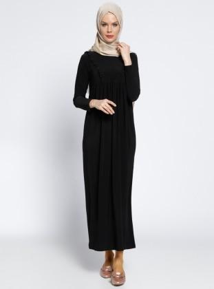 79cd3ff5b8a89 Fırfırlı Robadan Elbise - Siyah - Topless