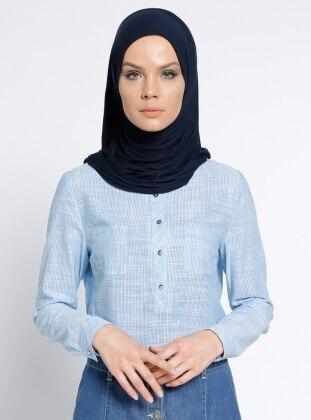 Çizgili Bluz - Mavi Nihan
